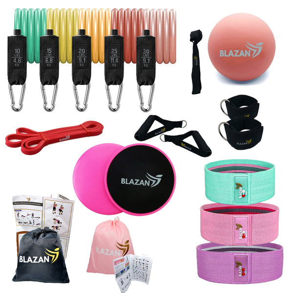 Resistance Exercise Bands Fitness Bundle  22 Pieces Complete Home Workout Tube Booty Bands Heavy Duty Band Gliding Core Sliders Trigger Point Massage Therapy Ball