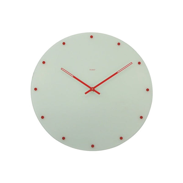 Degree White & Red Dots Wall Clock 35cm