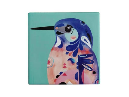 Maxwell & Williams Pete Cromer Ceramic Square Tile Coaster Azure Kingfisher 9.5cm