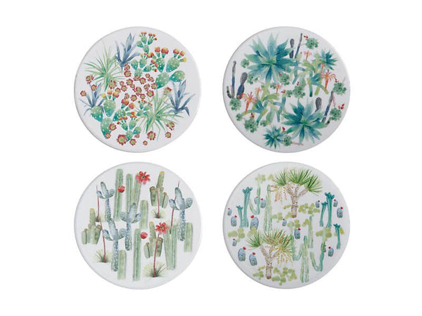 Maxwell & Williams Royal Botanic Garden - Arid Garden Ceramic Round Coaster Set of 4 - 10cm