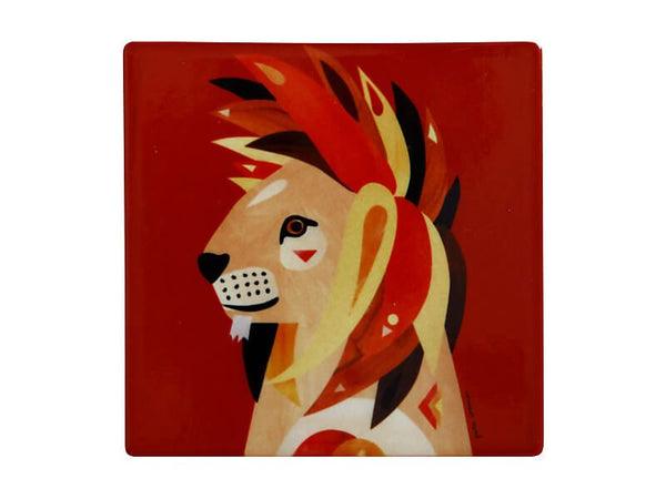 Maxwell & Williams Pete Cromer Wildlife Ceramic Square Coaster 9.5cm - Lion