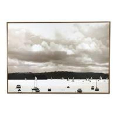 Wooden Framed Art Boats 100X70cm