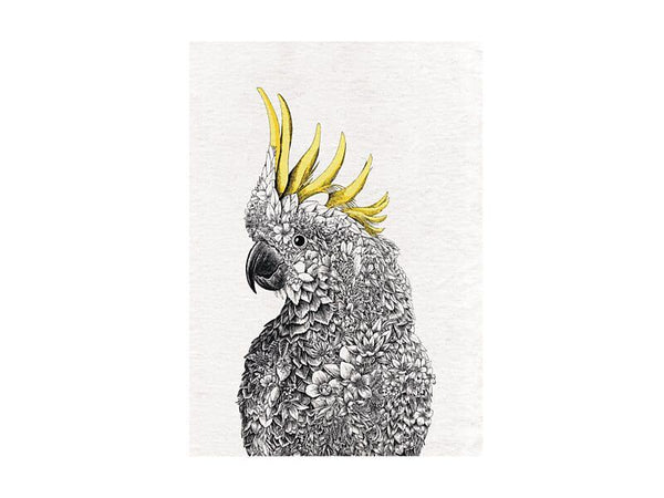Marini Ferlazzo Birds Tea Towel 50x70cm Gang Gang Cockatoo