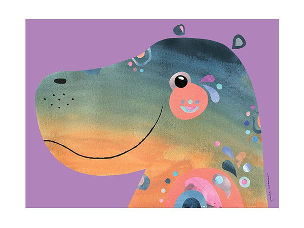 Maxwell & Williams Pete Cromer Wildlife Tea Towel 50x70cm - Hippo