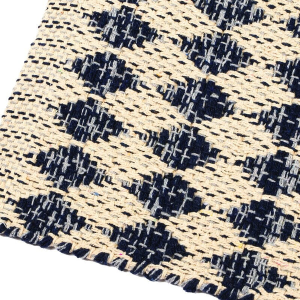Casa Regalo Woven Cotton Rug - 60x90cm - Diamond Blue & White