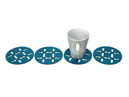 Teal Felt Urban Coasters 12cm - Pack of 4