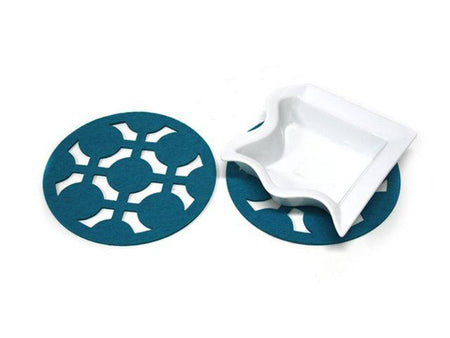 Teal Felt Urban Pot Mats/Trivets 19cm - Pack of 2