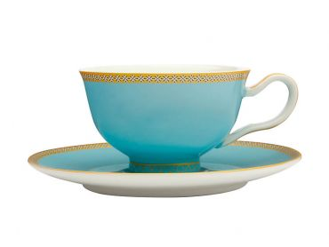 Maxwell & Williams Teas & C's Kasbah Classic Footed Cup & Saucer 200ML - Turquoise Gift Boxed