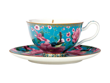Maxwell & Williams Teas & C's Silk Road Footed Cup & Saucer 200ml - Aqua Gift Boxed