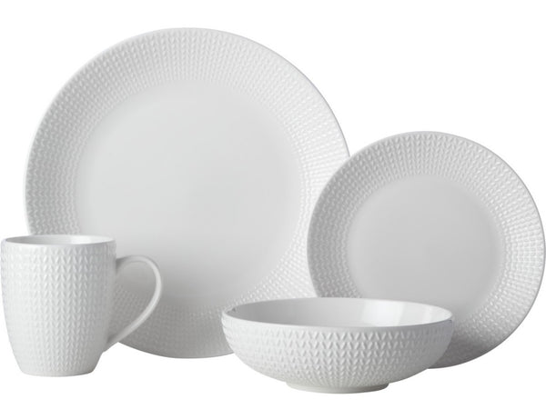 Casa Domani Corallo Coupe Dinner Set 16pc - White