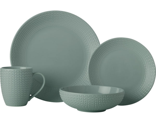Casa Domani Corallo Coupe Dinner Set 16pc - Sage