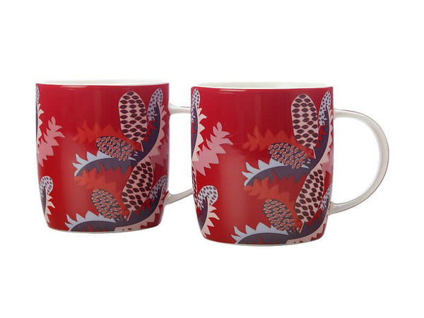 Maxwell & Williams Sassafras Mugs 370ml Set of 2 - Red - Gift Boxed