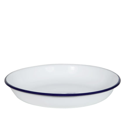 Falcon - Enamel Pasta Plate - White with Blue Rim - 24x4cm