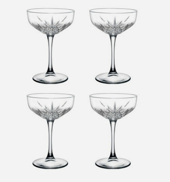 Pasabahce Timeless Champagne Saucer Glasses Set of 4 -255ml