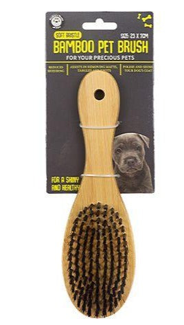 Bamboo Pet Brush Soft Bristle - Large 23x7cm