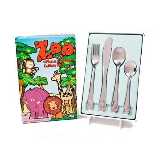 Zoo 4 Piece Stainless Steel Kids Children's Cutlery Set