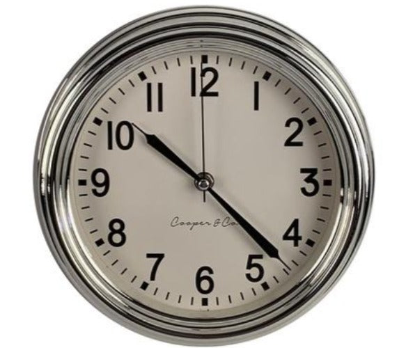 Cooper & Co 'Oxford' Silver Clock 24cm