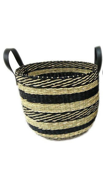 Round Woven Basket With Handles - Black/Natural - Large - 34cm