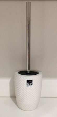 Salt & Pepper Emboss Toilet Brush Holder - 11x39.5cm