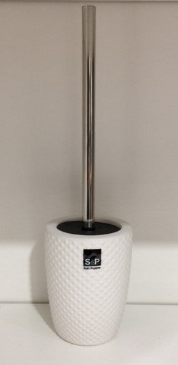 Salt & Pepper Emboss White Toilet Brush Holder - 11x39.5cm