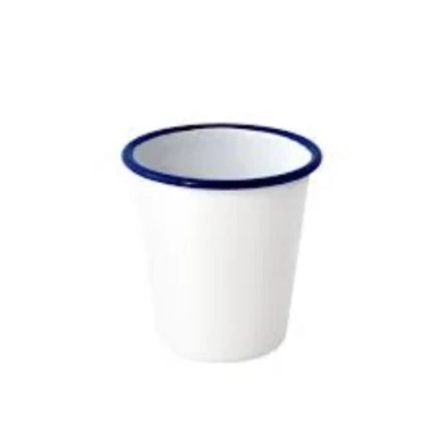 Falcon - Enamel Tumbler - White with Blue Rim - 8cm - 300ml