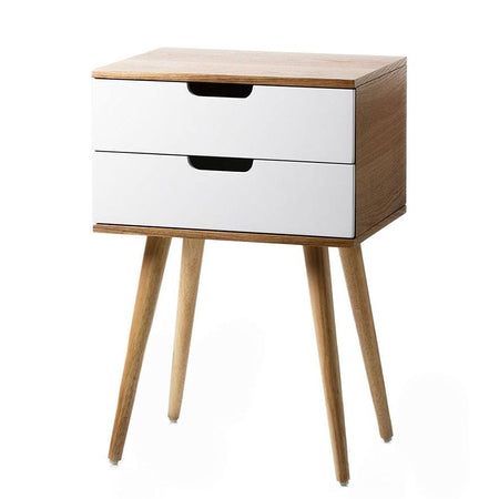 Louis 2 Drawer Side Table - Natural/White - 40x30x60cm