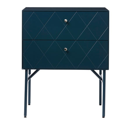 Bedside Table 2 Drawer - Teal - 49x38x59cm