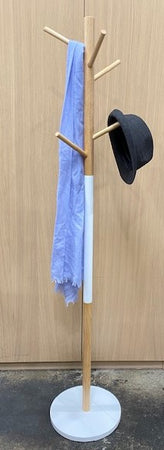 Coat/Hat Accessory 6 Hook Stand - Natural/White - 176x36cm