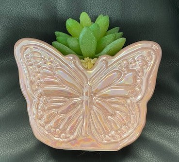 Pink Butterfly Pot With Artificial Succulent Plant - 12.5x12cm