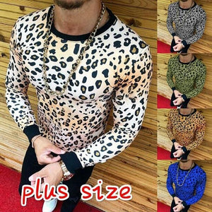 Men's Leopard Print Long Sleeve T-Shirt