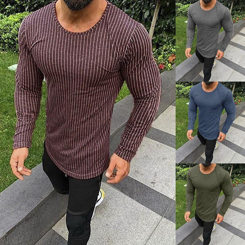 Striped Crew Neck Pullover Men's   T-Shirt