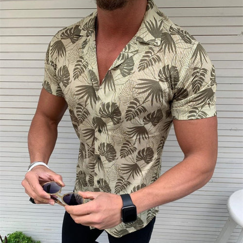 Lapel Short-Sleeved Coconut Leaf Print Men's Shirt