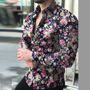 Men's Casual Long Sleeve Flower   Shirt