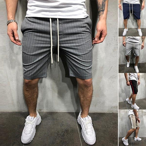 Men's Fashion Striped Colorblock Slim Shorts