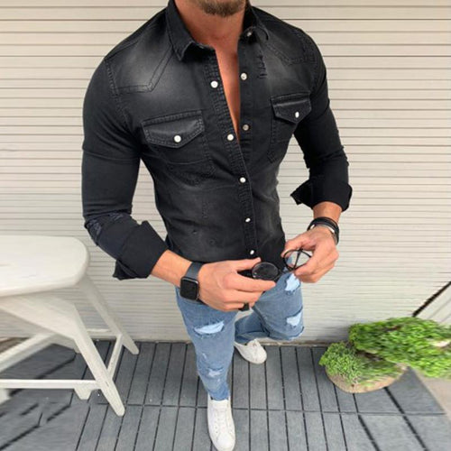 Fold-Over Collar Single-Breasted Pocket Denim Shirts