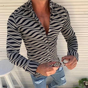Fashion Casual Slim Fit Wave Pattern Shirt