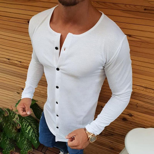 Simple Pure Colour Single-Breasted T-Shirt