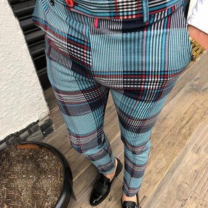 Men's Color Block High-Waisted Plaid  Casual Pants