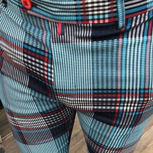 Load image into Gallery viewer, Men's Color Block High-Waisted Plaid  Casual Pants
