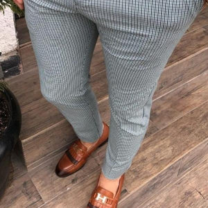 Men's High-Waisted Plaid Casual Pants