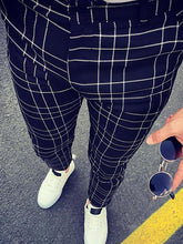 Load image into Gallery viewer, Leisure Men's High-Waisted Plaid Pencil Pants