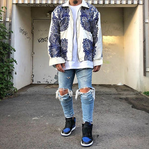 Men's Embroidered Zipper Loose Jacket