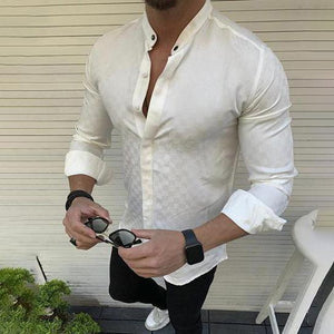 Gentleman Fashion Minimalist Plaid Slim Fit Collar Shirt