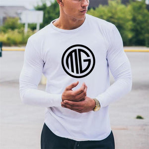 New Summer Autumn Fashion Casual Slim Elastic Soft Solid Long Sleeve Round Neck Men T Shirts