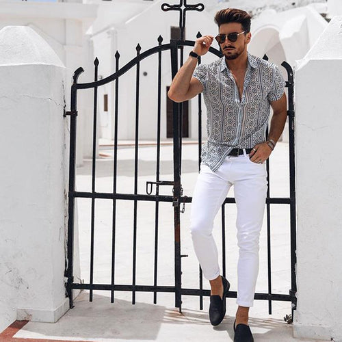 Men's Fashion Printed Shirt Lapel Short Sleeve Top