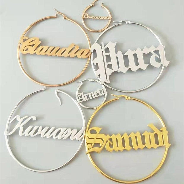 Custom Name Earrings Stainless Steel Hoops For Women
