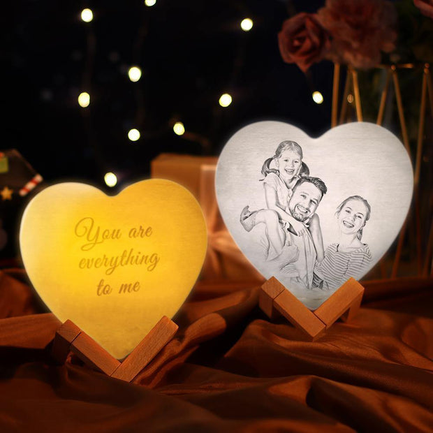Photo Moon Lamp Custom 3D Photo Light Lamp Moon Heart Shape Gift For Father