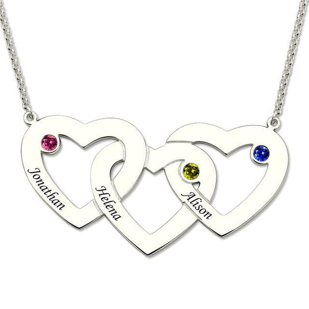 Personalized Triple Heart Necklace With Birthstones
