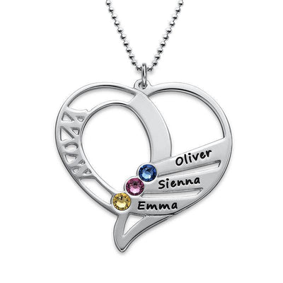 Engraved Heart Mother Birthstones Necklace With Kids Names