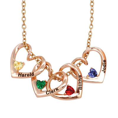 Gift For Mom - Birthstone Heart Necklace for mom